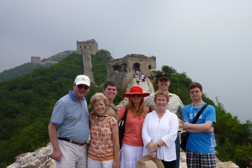 Charlie, Cary, Peter, Annie, Tom, Anne and Jimmy on the Great Wall