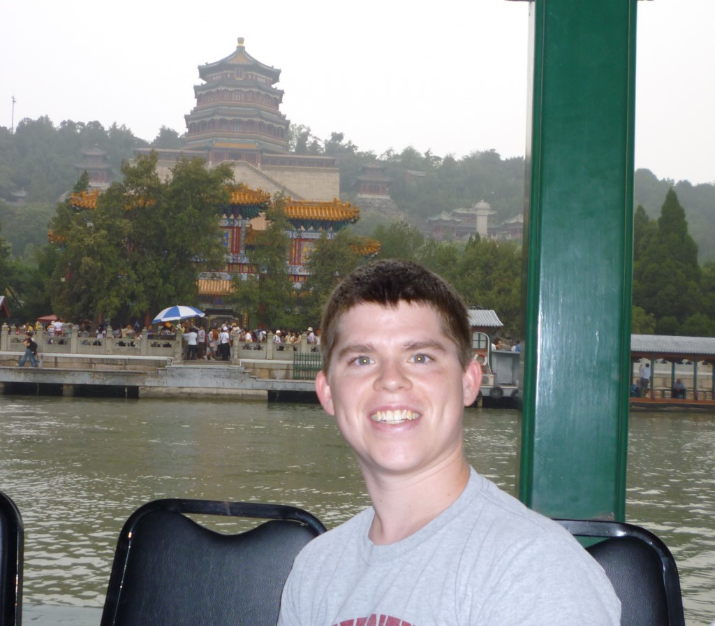 Peter on a boat in the Summer Palace