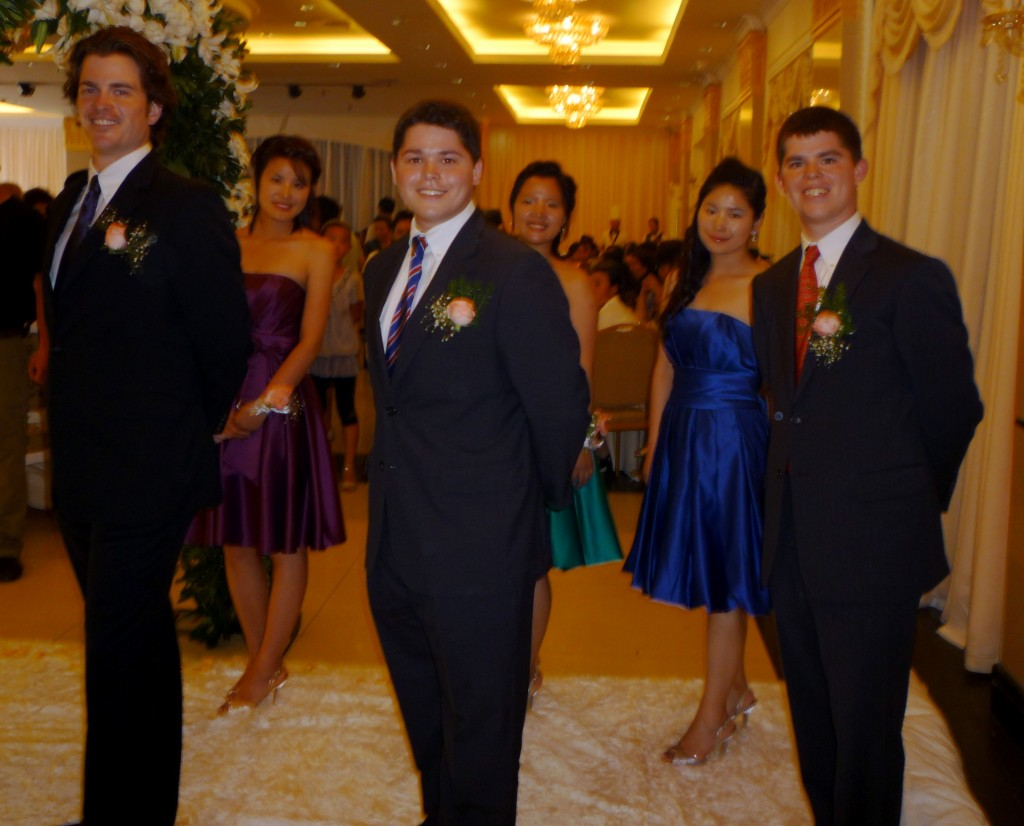 The bridesmaids and groomsmen
