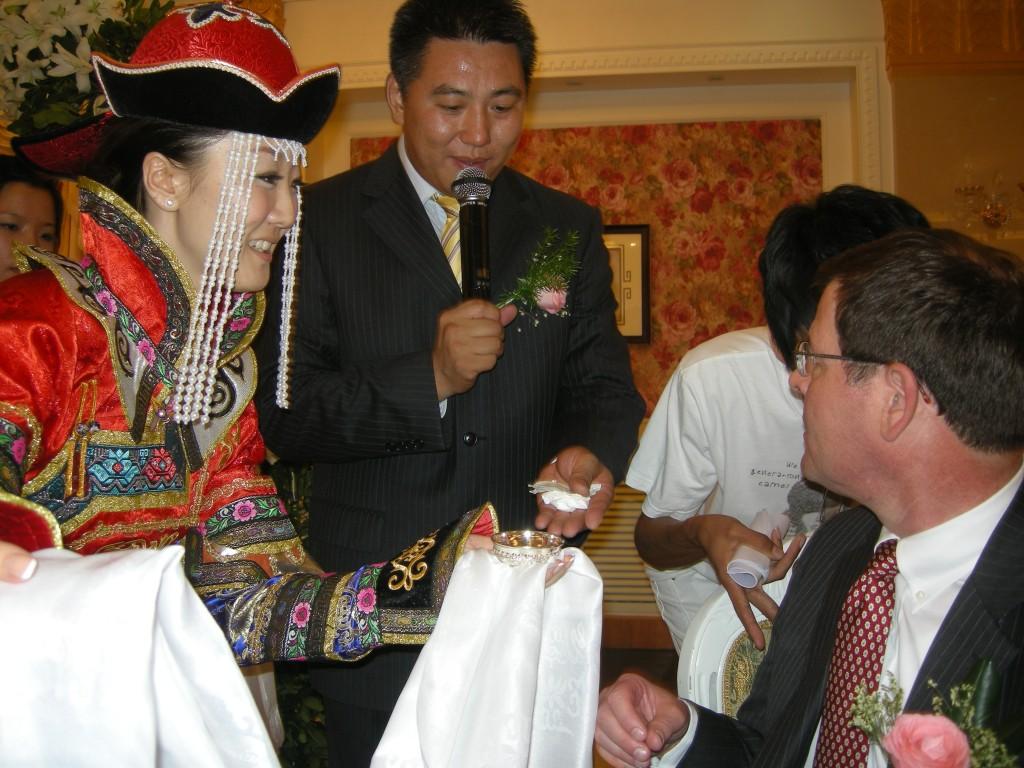 Jiao Jiao gives Charlie a Mongolian welcome