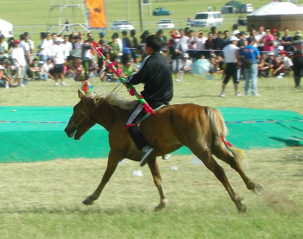 Lead horse with the baton