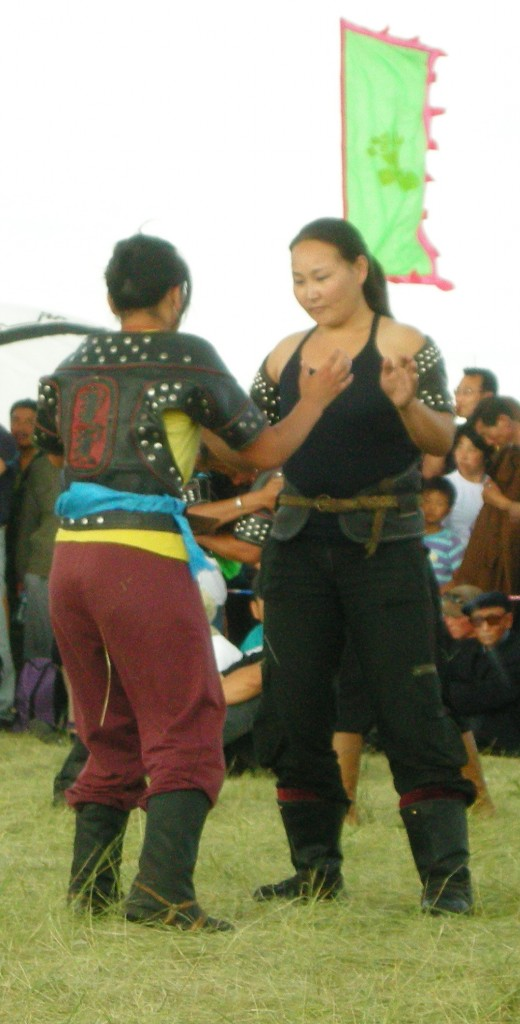 Women prepare to wrestle