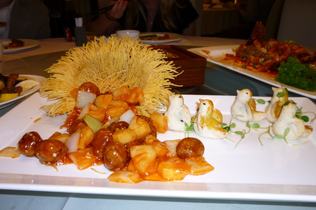 Food presentation at the restaurant in Beijing