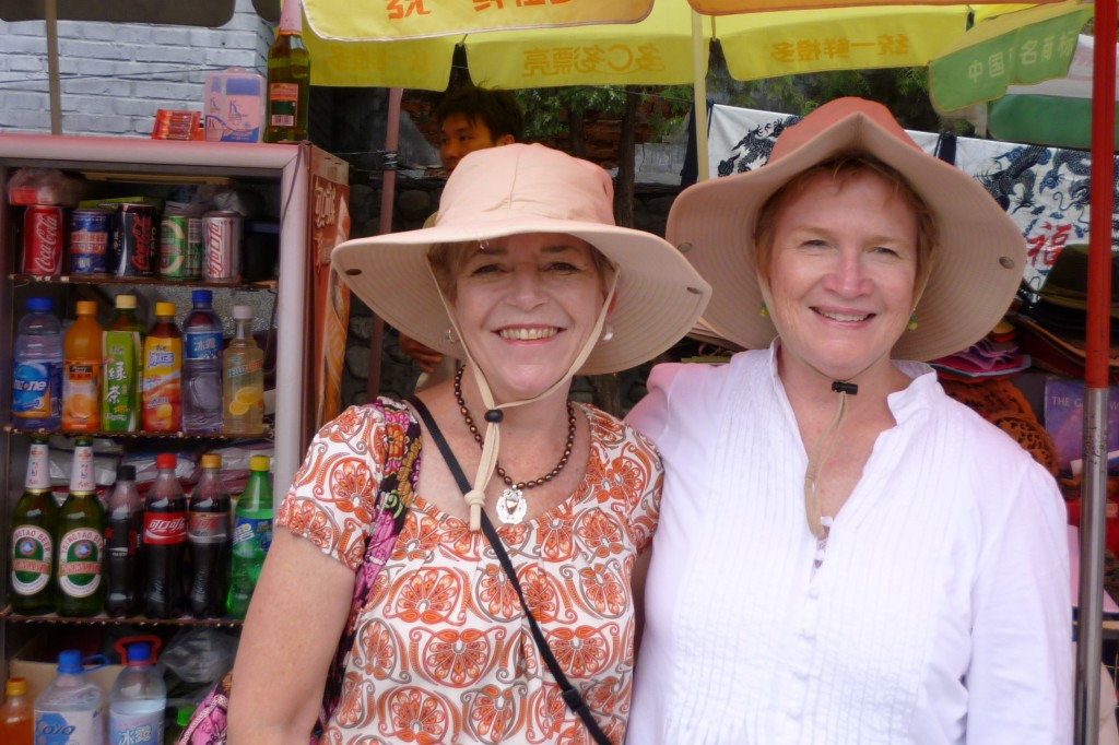 Cary and Anne with their new hats at the Great Wall concession area