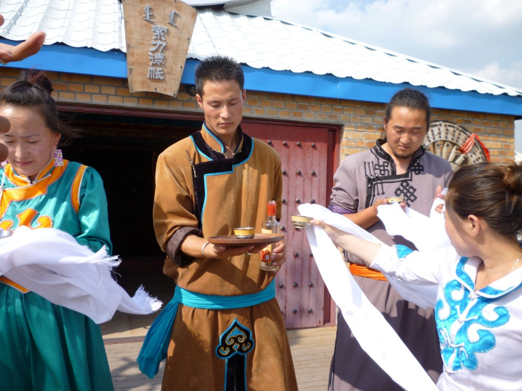 Mongolians prepare to greet us in the grass lands