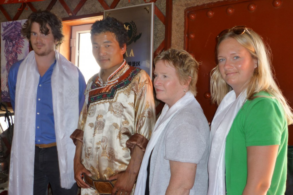 The Learys with a Mongolian at our grass lands introduction