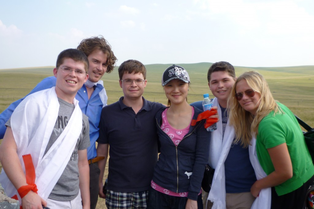 Peter, Tom, Jimmy, Jiao Jaio, Andrew and Annie on the grass lands