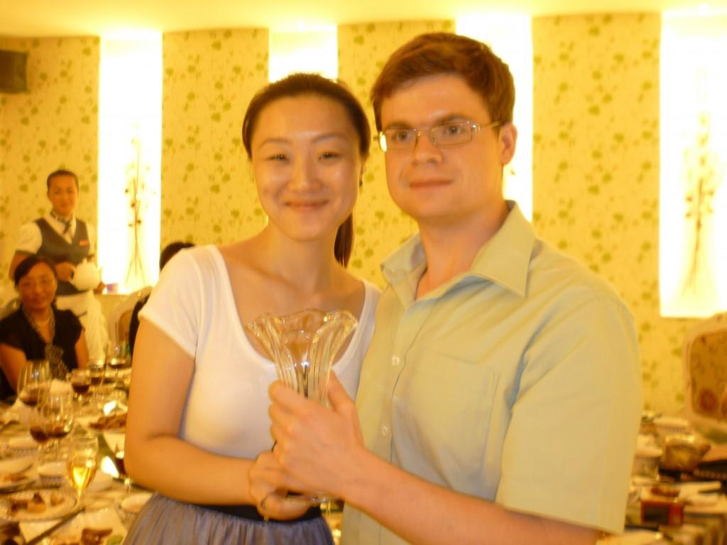 Jiao jiao and Jimmy with gift