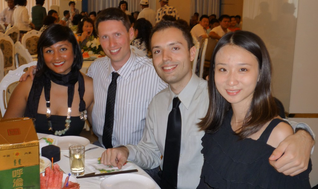Melissa, Adam, Mike and Chen will soon learn about the rice wine in the lower left corner