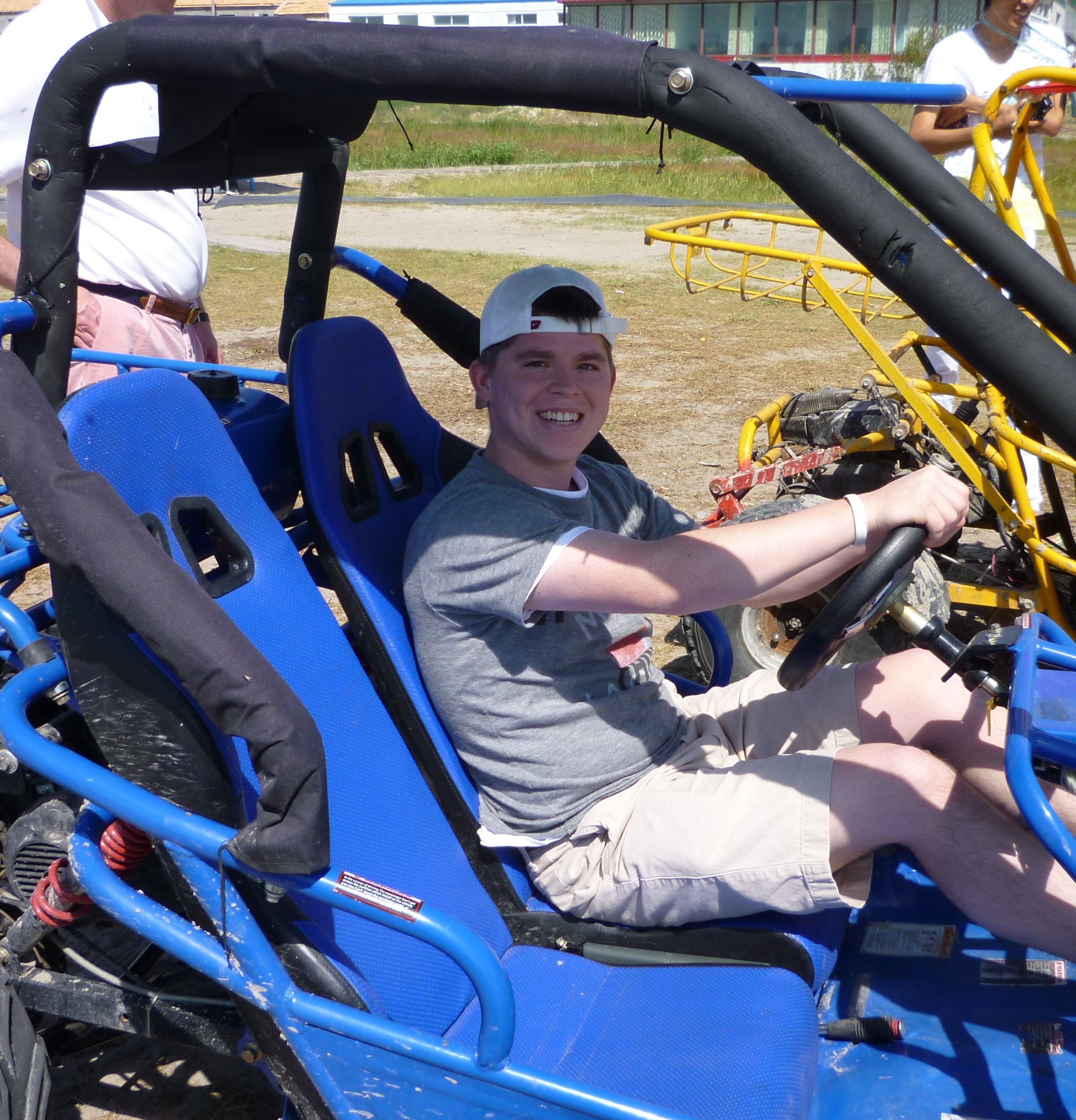 Peter in the dune buggy before he flips it